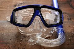Wet diving mask and snorkel Royalty Free Stock Image