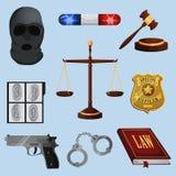 Wet en Rechtvaardigheids geplaatste pictogrammen Stock Afbeeldingen