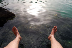 Wet feet. Picture of feet over clear water Stock Photography