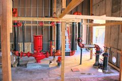Wet Fire-Protection System New Installation In Commercial Bldg. Royalty Free Stock Images