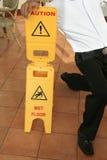 Wet floor. Photograph of slippery wet floor sign Royalty Free Stock Image