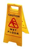Wet floor board isolated on white & clipping mask Royalty Free Stock Photos