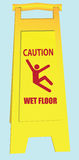 Wet Floor - Caution. Folding a signal of a slippery field in public areas. Vector illustration Stock Images