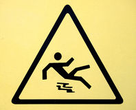 Wet floor caution sign Royalty Free Stock Images
