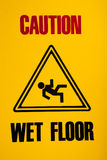 Wet floor sign. Yellow Caution wet floor sign Royalty Free Stock Photography