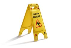 Wet Floor Sign. Wet Floor Caution Yellow Plastic Sign Isolated on White Background. Be Careful Royalty Free Stock Image