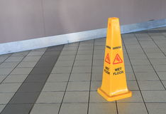 Wet floor sign. On floor Stock Photo