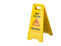 Wet floor sign. Isolate on white background Royalty Free Stock Photos