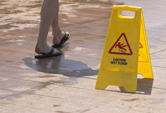 Wet floor sign Royalty Free Stock Image