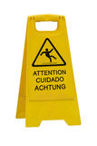 Wet floor sign on white Stock Images