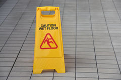 Wet Floor Sign. Yellow Wet Floor Sign Warning Of Slippery Royalty Free Stock Photo