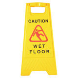 Wet Floor signs isolated on white Stock Photo