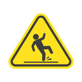 Wet floor warning sign. Wet floor warning vector sign isolated on white background. Yellow triangle with falling man in modern flat style. EPS 10 Royalty Free Stock Image