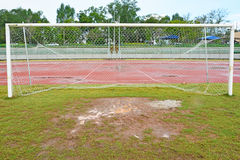 Wet football field Stock Image