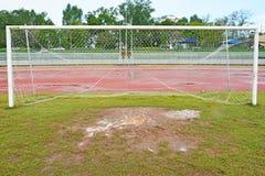 Wet football field