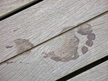 Wet Footprint on Wooden Boards of Pier Stock Photo