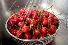 Wet fresh cherry in sink Royalty Free Stock Photo