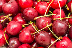Wet And Fresh Red Cherries Royalty Free Stock Photos
