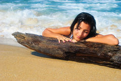 Wet girl at a beach Royalty Free Stock Photos