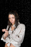 Wet girl in rain Royalty Free Stock Images