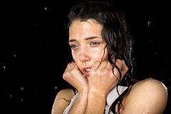 Wet girl in rain Royalty Free Stock Photos