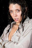 Wet girl in rain Royalty Free Stock Photo