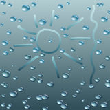 Wet Glass with raindrops. Vector illustration. Royalty Free Stock Photo