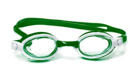 Wet goggles for swimming. Wet green goggles for swimming. Isolated on white background stock photography