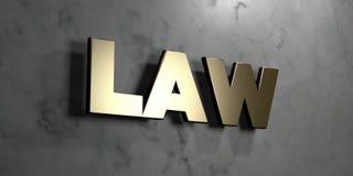 Wet - Gouden teken opgezet op glanzende marmeren muur - 3D teruggegeven royalty vrije voorraadillustratie Royalty-vrije Stock Afbeelding