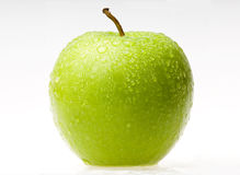 Wet green apple. Green Apple Isolated On White Blackgroud Stock Image