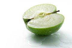 Wet green apple Royalty Free Stock Image