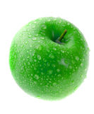 Wet green apple isolated on white Stock Photo