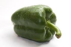 Wet green bell pepper. Isolated on white stock photos