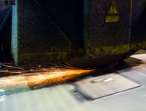 Wet grinding with sparks. Wet grinding process with spark traces Royalty Free Stock Images
