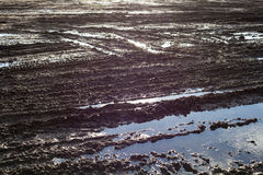 Wet ground surface with lots of wheel tracks Royalty Free Stock Image