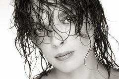 Wet hair. Close-up duotone portrait of beautiful young woman with wet hair Stock Photo