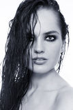 Wet hair. Duotone portrait of young beautiful sexy woman with wet hair Royalty Free Stock Images