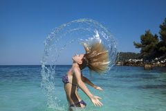 Wet hair splash Royalty Free Stock Photos