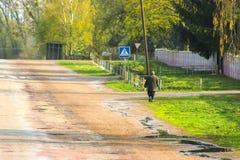 Wet highway road after Autumn rain Stock Photo