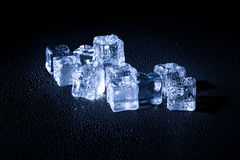 Wet ice cubes on black background Royalty Free Stock Photo