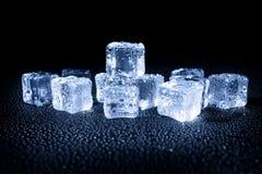 Wet ice cubes on black background Royalty Free Stock Image