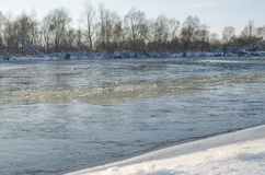 Wet icy flowing in river Royalty Free Stock Images