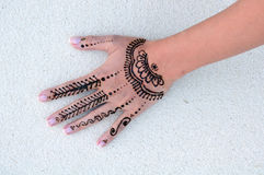 Wet indian henna tattoo Royalty Free Stock Images