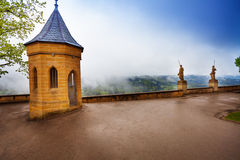 Wet inner yard of Hohenzollern castle in haze royalty free stock image