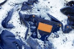 Free Wet Jeans, Soak And Wash Stock Photography - 130502502