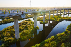 The wet land bridge and water Royalty Free Stock Photo