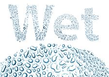 Wet made of water drops, background on white Stock Photos