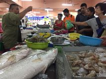 Wet Market. Bargaining of seafood in the morning Stock Photo