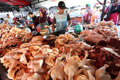 Wet Market in Kota Kinabalu, Sabah. Local people selling raw chicken in Kota Kinabalu, Sabah, Malaysia Royalty Free Stock Photos