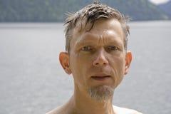 Wet mature man portrait Stock Images